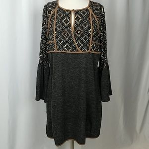 THML print tunic dress bell sleeves